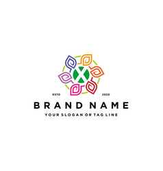 Letter x leaf colorful logo design and business vector