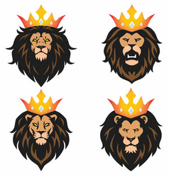 lion head mascot set with crown logo vector image