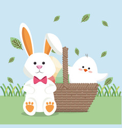 little chick and rabbit easter card vector image