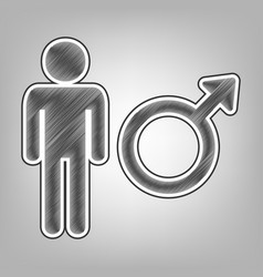 male sign pencil sketch vector image