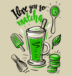 matcha green latte with sketch vector image