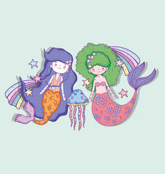 Mermaids woman with jellyfish and rainbows with vector