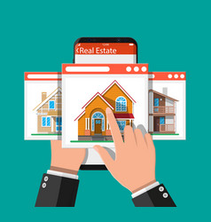 mobile smart phone with real estate app vector image