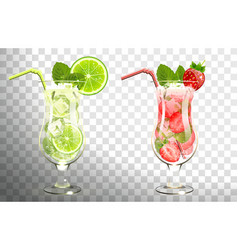 Mojito cocktails lime and strawberries vector