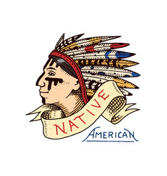 native american old red skinned indian label and vector image