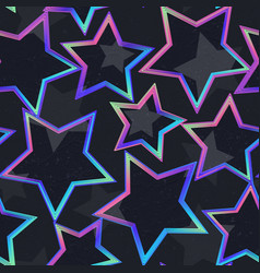 neon star geometric seamless pattern vector image