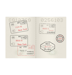 Passport pages with international stamps of usa vector