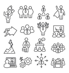people line icons set isons for teamwork vector image