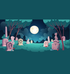 pet cemetery with graves and tombstones vector image