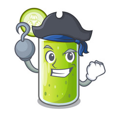 Pirate character fresh juice of green cucumber vector