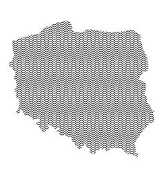 poland map country abstract silhouette of wavy vector image