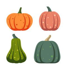 pumpkin simple flat color icons set vector image