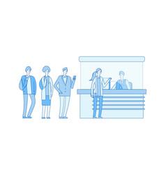 queue at box office at station waiting line cash vector image