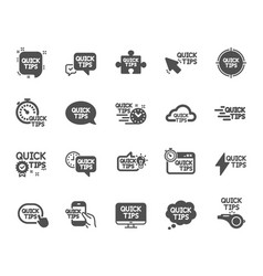Quick tips icons set of helpful tricks solution vector