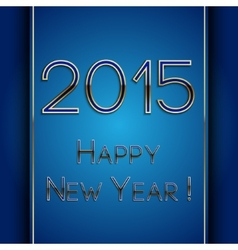 rectangle blue greeting new year 2015 postcard vector image