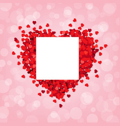 red heart pink background with banner vector image