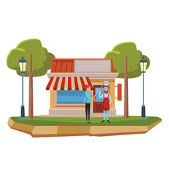 Restaurant and people vector