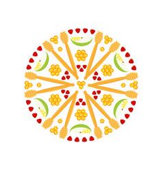 rosh hashanah symbols rosette vector image