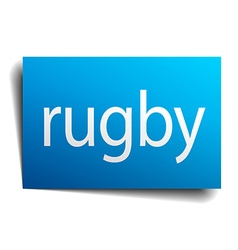 rugby blue paper sign on white background vector image