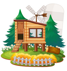 Rural house in nature vector
