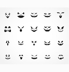 scary pumpkin faces silhouette vector image