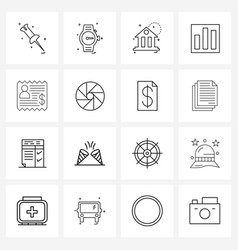 Set 16 simple line icons for web and print vector