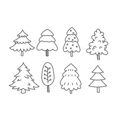 set christmas tree in doodles and sketches vector image