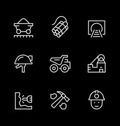 set line icons coal vector image