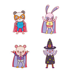 set of animals halloween costume vector image