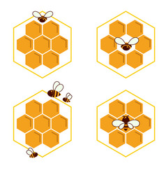 set of honeycomb and bee sketch icons logo vector image
