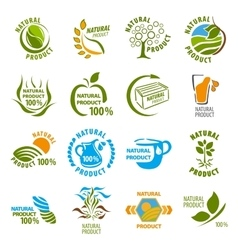Set of organic-bio labels vector