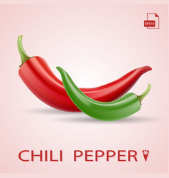Set of two chili peppers red and green vector