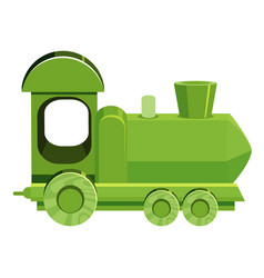 Single picture green train on white background vector