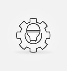 Smart led light bulb in gear or cog outline vector