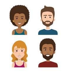 Smiling people set vector