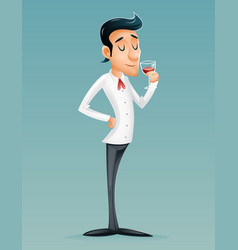 sommelier cartoon gentleman savor drink glass vector image