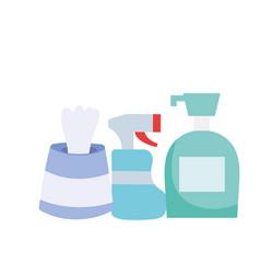 Spray bottle soap dispenser and tissues box vector