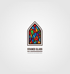 Stained glass line emblem vector