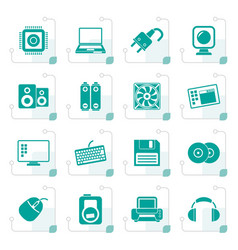 stylized computer items and accessories icons vector image