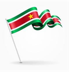 Surinamese pin wavy flag vector