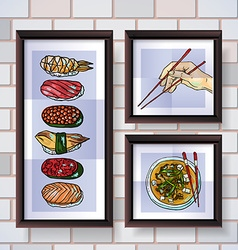 Sushi posters vector image