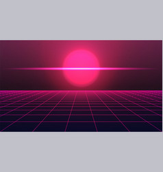 Synthwave scary background pink sun or planet vector