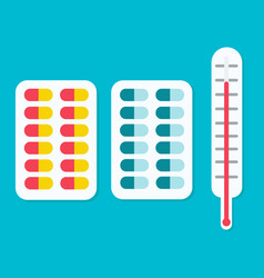 tablets ahd a thermometer icon vector image