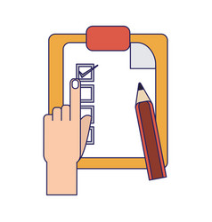 tasks on clipboard blue lines vector image