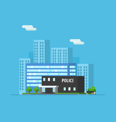 urban landscape with skyscrapers and police vector image