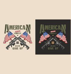 Vintage military patriotic colorful label vector