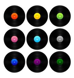 Vintage vinyl set vector