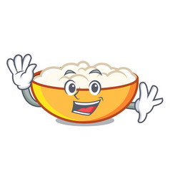 Waving cottage cheese character cartoon vector