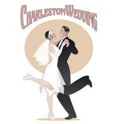 Wedding dance elegant couple wearing 20s style vector