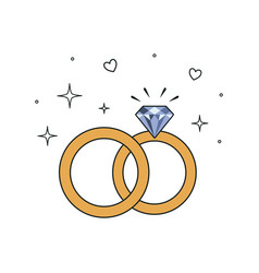 wedding rings icon isolated vector image